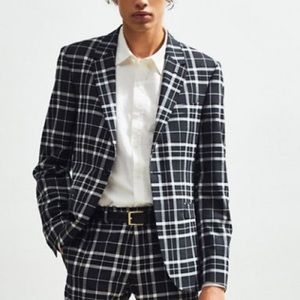 NWT UOPlaid Skinny Fit Single Breasted Suit Blazer